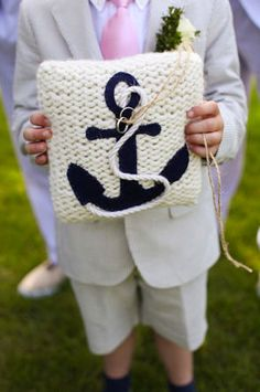 Anchors Away nautical ring bearer pillow...perfect for a seaside wedding! great idea!