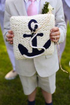 Nautical wedding ring pillow, anchor, the original anchor pillow. $65.00, via Etsy.