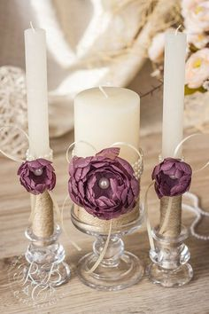 Purple wedding pillar candles flower wedding от RusticBeachChic and engraved and different Handmade Candles, Votive Candles, Candels, Wedding Pillars, Wedding Unity Candles, Wedding Glasses, Beautiful Candles, Candle Set, Candle Lanterns