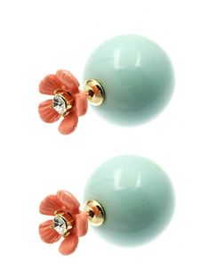 Double sided earrings look lady like from the poppy side and mod con from the ball side.   You pick your mood but no one will question your upbringing.  Lucite double ball earrings can be worn front to back or back to front.   Earrings have a 1/2 inch drop.