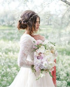 modest wedding dress with long sleeve and a full skirt from alta moda. --(modest bridal gown)--