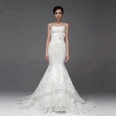 New arrival Strapless Net bridal gown with Dropped