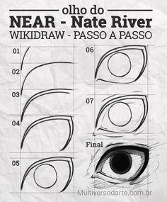 Aprenda a desenhar o olho do Near do anime Death Note em simples 7 passos com o tutorial ilustrado. Manga Drawing Tutorials, Manga Tutorial, Drawing Techniques, Drawing Tips, Drawing Reference, Death Note Near, How To Draw Anime Eyes, Dibujos Anime Chibi, Nate River