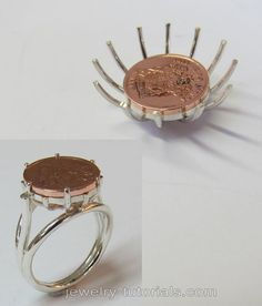How to make a wire basket ring is made using the traditional cluster arrangement. The spider collet is made without the use of dental plaster. It can be used for setting a coin as well as a round cabochon. metal fabrication / jewellery making / jewelry tutorials / coin ring / wire basket making / soldering / traditional smithing / silver making