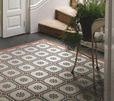 Rust, charcoal and off white combined in this classic pattern. Porch Flooring, Kitchen Organisation, Italian Tiles, Wall And Floor Tiles, Tile Patterns, British Style, Restoration, Rousseau, Hostel