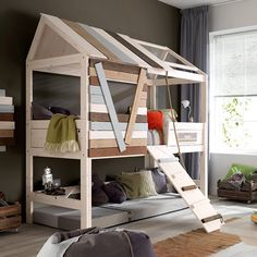 High Tree House Bed With Rope Ladder. This Luxury Tree House Bed by Lifetime is made from the best solid knot free pine and hand crafted in Denmark. Treehouse Loft Bed, Kids Bed Design, Bedroom Furniture, Bedroom Decor, Bedroom Ideas, Small Room Decor, Childrens Beds, Cool Beds, Kid Beds