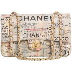 Chanel Limited Edition Graffiti Newspaper Print Double Flap Bag,... ($12,680) ❤ liked on Polyvore featuring bags, handbags, purses, chanel, pink bag, pink purse, lambskin handbag and summer handbags