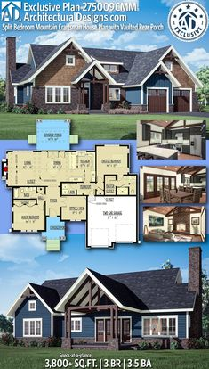 House Plan 275009CMM  gives you 3,800  square feet of living space with 3 bedrooms and 3.5 baths. AD House Plan #275009CMM #adhouseplans #architecturaldesigns #houseplans #homeplans #floorplans #homeplan #floorplan #floorplans #houseplan Craftsman House Plans, New House Plans, Modern House Plans, House Floor Plans, Building Plans, Building A House, Plumbing Drawing, Shed Dormer, Roof Detail