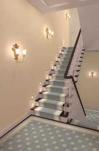 stair runner - would look better with dark wood wainscoting