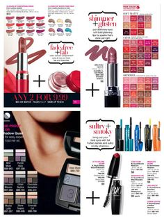 #Avon Makeup - *Lipstick *Eyeshadow *Mascara - Any 2 for $9.99- See Campaign 3 Brochure Pg 12-17 at www.youravon.com/gkuper