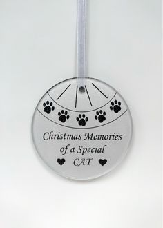Cat Memorial Christmas Tree Decoration Christmas Memories of a Special Cat Glass round hanging decoration Complete with ribbon 9 Memorial Plaques, Memory Tree, Cat Memorial, Cooking Timer, Christmas Tree Decorations, Ribbon, Memories, Glass, Dog