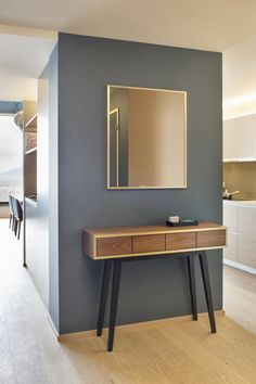 Furniture and Accessories. Modern Entryway Tables Design Inspiration. Varnished Wood Entryway Tables Come With Varnished Wood Entryway Tables Skirt With Drawer And Gray Stain Wall And Brass Stain Wall Mirror Frame