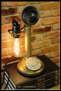 Repurposed 1920's Antique Gold Brass Candlestick Telephone Upcycled Lamp Light