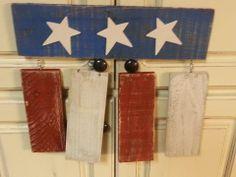 Patriotic Door Hanger, reclaimed wood pallet painted. Sells for $15 plus shipping. Item #56