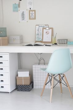 Home inspiration for baby blue and grey rooms. Modern scandi desk home office with eames chair Home Office Inspiration, Interior Inspiration, Office Decor, Office Ideas, Office Workspace, Office Inspo, Painted Furniture, Urban Furniture, Furniture Plans