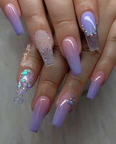 Beautiful Coffin Nails In 2019 To Inspire You – Acrylic Nails Purple Acrylic Nails, Summer Acrylic Nails, Best Acrylic Nails, Purple Nails, Pastel Nails, Spring Nails, Summer Nails, Classy Nails, Stylish Nails