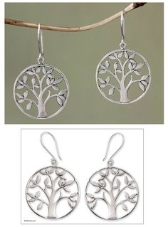 Sterling silver dangle earrings, 'Beringin Tree' at The Animal Rescue Site