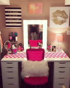 Teen Girl Bedrooms - Georgeous yet breathtaking teen room tactic. Thirsty for other brilliant teen room styling designs simply press the pin image to wade through the pin tip 2306806597 at once Sala Glam, Vanity Room, Vanity Mirrors, Glam Room, Makeup Rooms, Teen Girl Bedrooms, Girl Rooms, Dream Rooms, New Room
