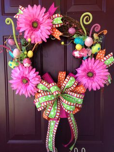 Bright Easter Wreath with Gerbera Daisies by BeccasFrontDoorDecor