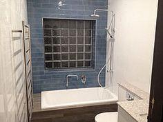 Manhattan Jeans tiles, wood look ceramic tiles, atlantic salt countertop.
