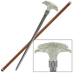 This Double American Eagle Walking Sword Cane is a definitely collector's edition piece. It features a handle shaped in a resin construction with two Eagle heads and a curve featured to sit comfortably in your hand. #doubleamericaneaglewalkingswordcane