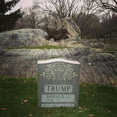 """theweekmagazine: """" A creepy Donald Trump tombstone was just removed from Central Park Republican presidential frontrunner Donald Trump is very much alive, but that didn't stop someone from putting a. Donald Trump, Central Park, Trump Picture, Protest Art, Galleries In London, Park Photos, Hollywood Life, Street Artists, Weekend Is Over"""
