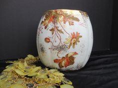 Beautiful Hand Painted Austria Leonard Vienna Porcelain Vase Bowl Floral Gold Earthtones Antique Vintage by NewOxfordVintage on Etsy