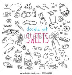 Set Of Various Doodles, Hand Drawn Rough Simple Sweets And Candies Sketches. Vector Illustration Isolated On White Background - 237304678 : Shutterstock