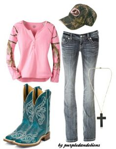 Camo # Country Outfit # Cowboy Boots # Mossy Oak # Country Life # Country Girl - different colored boots though Country Style Outfits, Country Girl Style, Country Fashion, My Style, Country Wear, Country Attire, Country Fall, Country Strong, Country Dresses