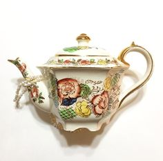 Hexagonal Sadler Teapot English Bone China by GracesVintageGarden