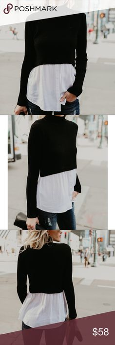 """Sweater Contrast Top This top is everything chic and sophisticated! On-trend layering with a black ribbed body and white button down underlay. This top is gorgeous and effortless with it's high neckline and easy layered look.  * Button Down Bottom   c o n t e n t + 46% Polyester 