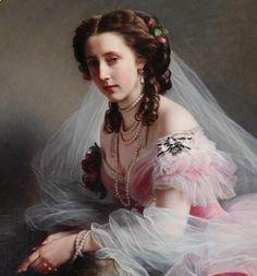 """1858 - """"Portrait of Landgräfin (Princess)  Anna von Hessen"""" (detail), Anna of Prussia (1836-1918), Franz Xaver Winterhalter (German, Menzenschwand 1805–1873 Frankfurt)."""