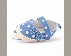 Cheap Fashionable Cute Comfortable Newborn Baby Prewalker Infant Soft Sole Denim Polka Dot Baby Crib Shoes   Material: cotton blend Great for first walkers and perfect for weddings, birthday, christmas, summer party or baby shower gift Fit from newborn to 12 months.