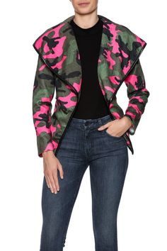 Pinkcamolightweight jacket with awaist length, fold-over lapels and faux leather trim & belt.   Country Girl Camo Jacket by Dygarni. Clothing - Jackets, Coats & Blazers - Jackets Ohio