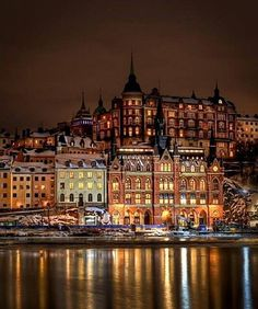 Gorgeous night view of Stockholm, Sweden.