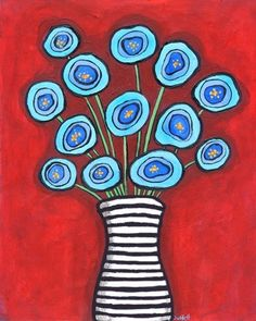 Blue Poppies striped vase Shelagh Duffett Print * note: the resolution is low here, the print you re Arte Floral, Whimsical Art, Red Poppies, Painting Inspiration, Flower Art, Floral Flowers, Blue Flowers, Art Lessons, Folk Art