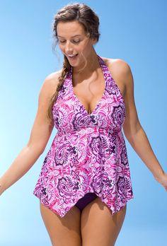 905406c553cf5 Charm Handkerchief Halter Tankini Plus Size Bodies, Swimsuits For All, Plus  Size Swimwear,