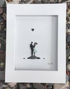 Pebble and Sea Glass Art Romantic Couple Art Modern Wall Art