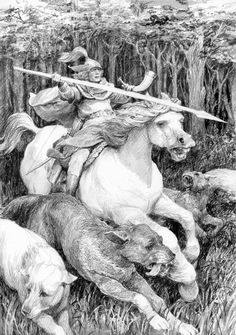 Orome, fabulous work, looks like a wood etching from back in the very nice movement in that piece. Fantasy Images, Fantasy Art, Wood Etching, Fanart, J. R. R. Tolkien, Medieval, Inspirational Artwork, Lone Wolf, Book Illustration