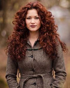 Dark Red Curly Layered Hair