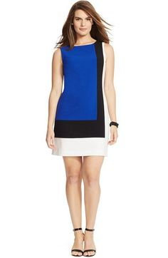 Lauren Ralph Lauren Colorblock Sleeveless Shift Dress (Plus Size) available at #Nordstrom
