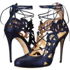 Marchesa Jillian (Navy Metallic Brushed Suede) Women's Shoes ($661) ❤ liked on Polyvore featuring shoes, strappy shoes, navy blue slip on shoes, suede shoes, suede slip on shoes and leather sole shoes