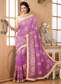 Purple Chanderi Cotton Saree