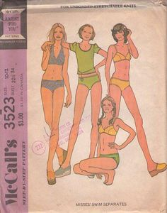 MOMSPatterns Vintage Sewing Patterns - McCall's 3523 Vintage 70's Sewing Pattern SEXY Charlie's Angels Retro 70s Brief Bikini, Halter Top or Bra Top Bathing Suit, Swimsuit, Cover Up Tshirt Top Size 10-12