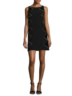 Zig Zag Studded Dress by Versace Collection | black | Gilt