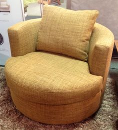 Emma Swivel Chair by American Leather. Tightrope: Pecan. Made in the USA! Available at Scanhome Furnishings in Green Bay.