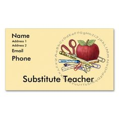 Free editable business cards for substitute teachers from substitute teacher business card templates cheaphphosting Choice Image