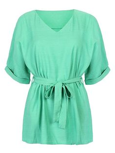 Persun Women's Green V Neck Bow Tie Belt Short Sleeve Flared Blouse