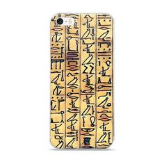 Egyptian Hieroglyphics (tan) iPhone case. This hybrid case combines a solid polycarbonate back, with flexible, rigid sides. It fits your phone perfectly, and protects from scratches, dust, oil, and dirt.  • Made of a hybrid Thermoplastic Polyurethane (TPU) and Polycarbonate (PC) material • Solid, durable polycarbonate back  • Flexible, rigid thermoplastic polyurethane sides • Precisely aligned cuts and holes that match your phone's functions • Easy to take on and off • .5 mm...