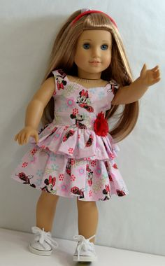 Items similar to American Girl Doll Clothes - Poppy's Peek-A-Boo Dress, Shoes, And Headband on Etsy